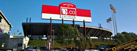 Oco Overstock sign Oakland Coliseum