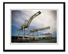 framed port of oakland container cranes photo