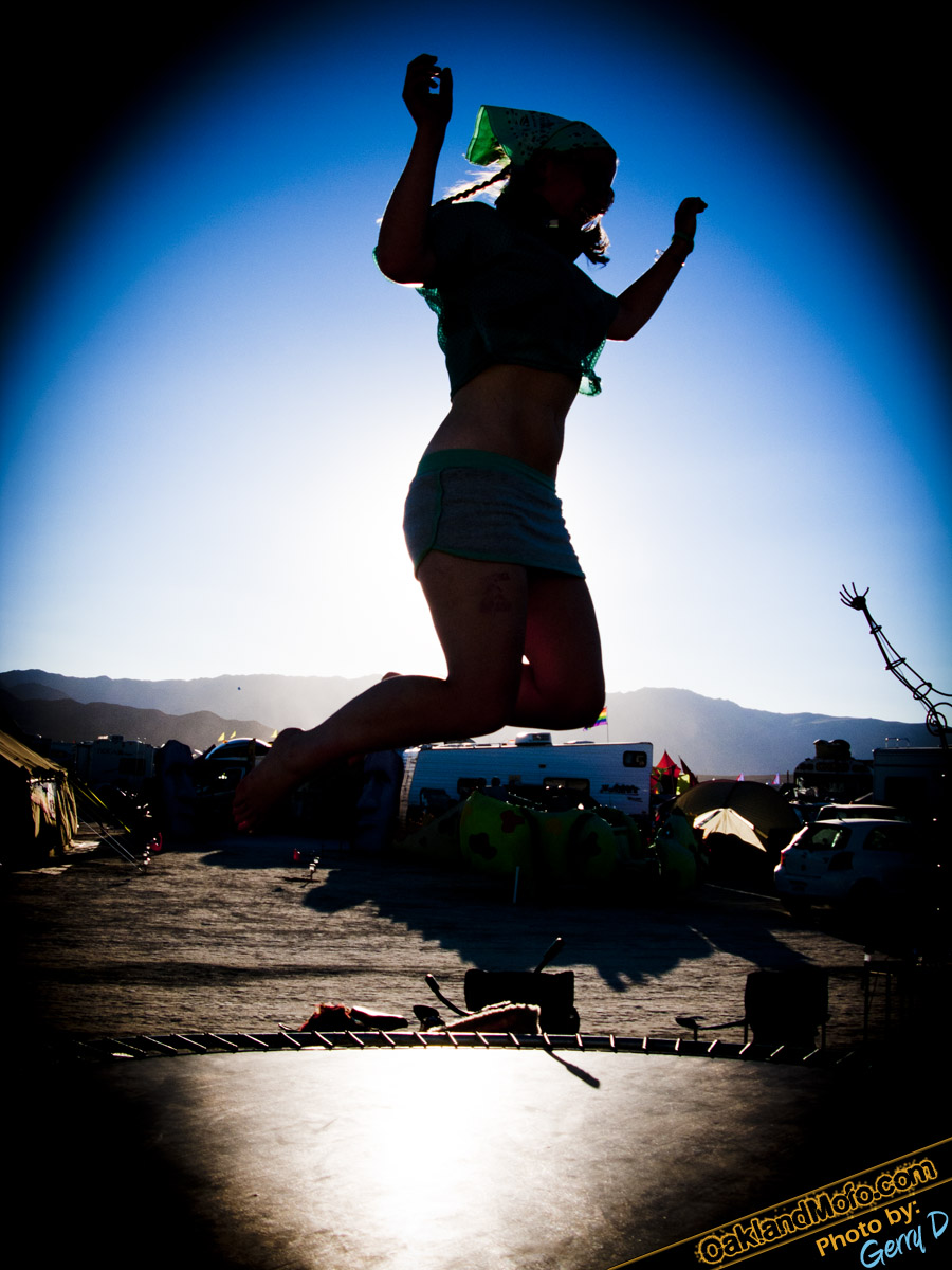 burning man girl trampoline