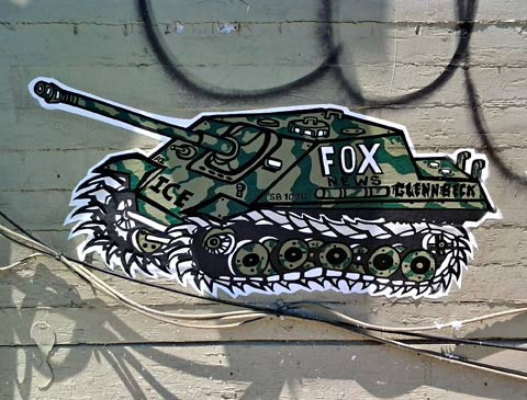 wheat paste graffiti art Fox News Tank