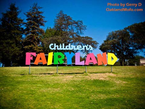 colorful fairyland sign on the hill