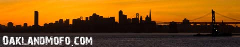 the san francisco skyline silhouette at sunset