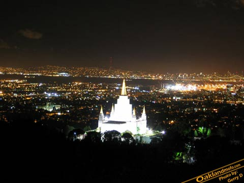 Oakland Mormon Temple at night