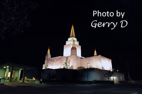 Oakland Mormon Temple Night LDS Latter Day Saints
